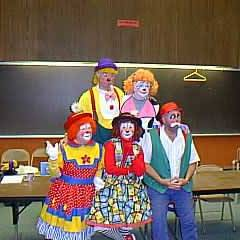 Staff make up demonstration - after. Back row: Kenny Ahern, Brenda Ahern (yes, they're related -- happily married). Front row: Betty Cash/Peewee, Linda Batdorf/Spin, Jim Howle/Jim