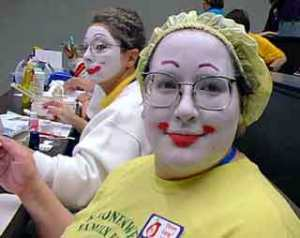 Ellen in Whiteface, for her previous Prudence character. Note Bagels in the background to the left.