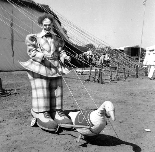 Paul Wenzel, in one of his props, seemingly pulled by a goose
