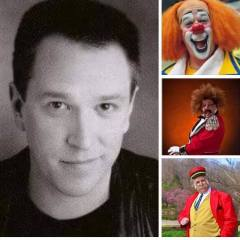 Pat Cashin and three of his clown characters