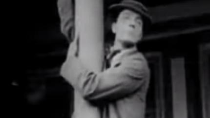 Coney Island - Buster Keaton climbing a street lamp