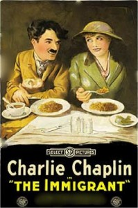 Charlie Chaplin and Edna Purviance in The Immigrant