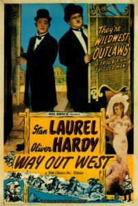 Way Out West movie poster, starring Stan Laurel and Oliver Hardy