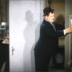 """Be Big - colorized photo of Oliver Hardy - """"I'll be quicker than quick!"""""""