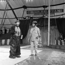 Emmett Kelly Sr. and Gary Moore rehearse a TV show for the Circus Hall of Fame in Sarasota, Florida
