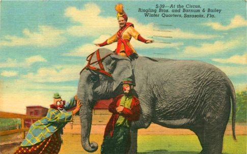 Lou Jacobs, Emmett Kelly Sr., elephant and friend