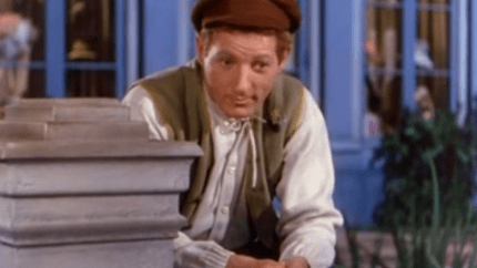 Color photo of Danny Kaye as the title character in Hans Christian Andersen