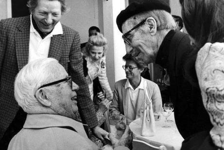Three elderly clowns - Danny Kaye, Charlie Chaplin, and Groucho Marx