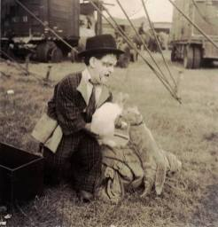 Frankie Saluto with a rabbit and kitten
