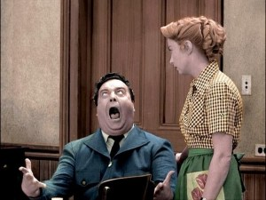 Colorized photo of Jackie Gleason and Audrey Meadows in The Honeymooners