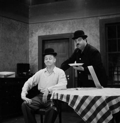 Art Carney and Jackie Gleason in an episode of The Honeymooners, imitating Stan Laurel and Oliver Hardy