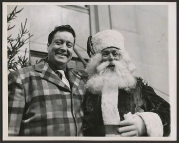 Jackie Gleason and Santa Claus at the Macy Thanksgiving Parade in the 1950's