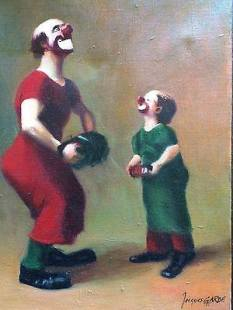 Painting of Charlie Rivel playing with one of his sons, both in clown makeup