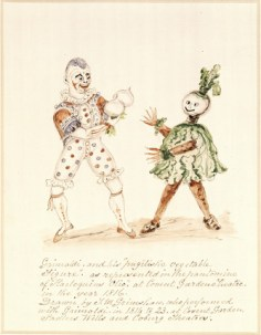 "Grimaldi and Vegetable - Grimaldi and his ""fugitive vegetable figure"" as represented in the Harlequin ""Olio"" at the Covent Garden Theatre in the year 1816. Drawn by J. M. Grimshare who performed with Grimaldi in 1811 to 23 at Covent Garden, Sadlers Wells and Coburg Theatre"
