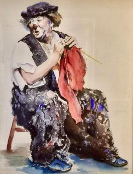 Color photo of Otto Griebling knitting