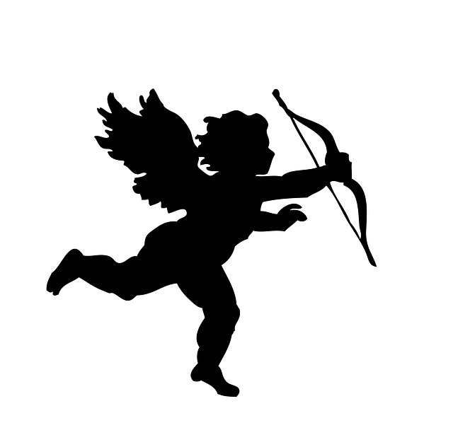 Cupid silhouette - Couple holding hands, in A Clown Valentine – a clown skit for a clown troupe, courtesy of Clowns for Christ