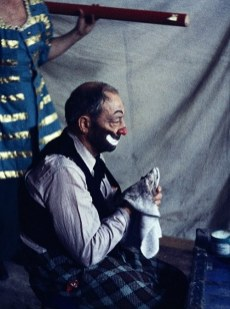 Buster Keaton in tramp clown makeup