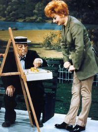 Buster Keaton and Lucille Ball in 1965 - a salute to Stan Laurel