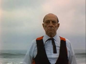 Older Buster Keaton staring