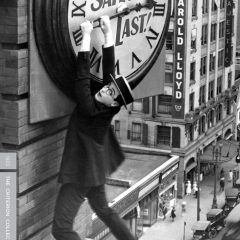Harold Lloyd hanging on for life from a clock in the iconic scene in Safety Last!