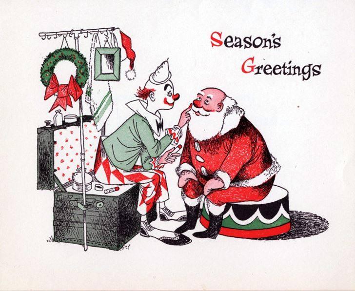 A cute postcard of a clown helping Santa in a Seasons Greetings postcard