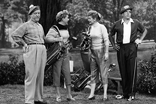 "Fred and Ethel Mertz, Lucy and Ricky Ricardo, on the green in the I Love Lucy episode, ""The Golf Game"""