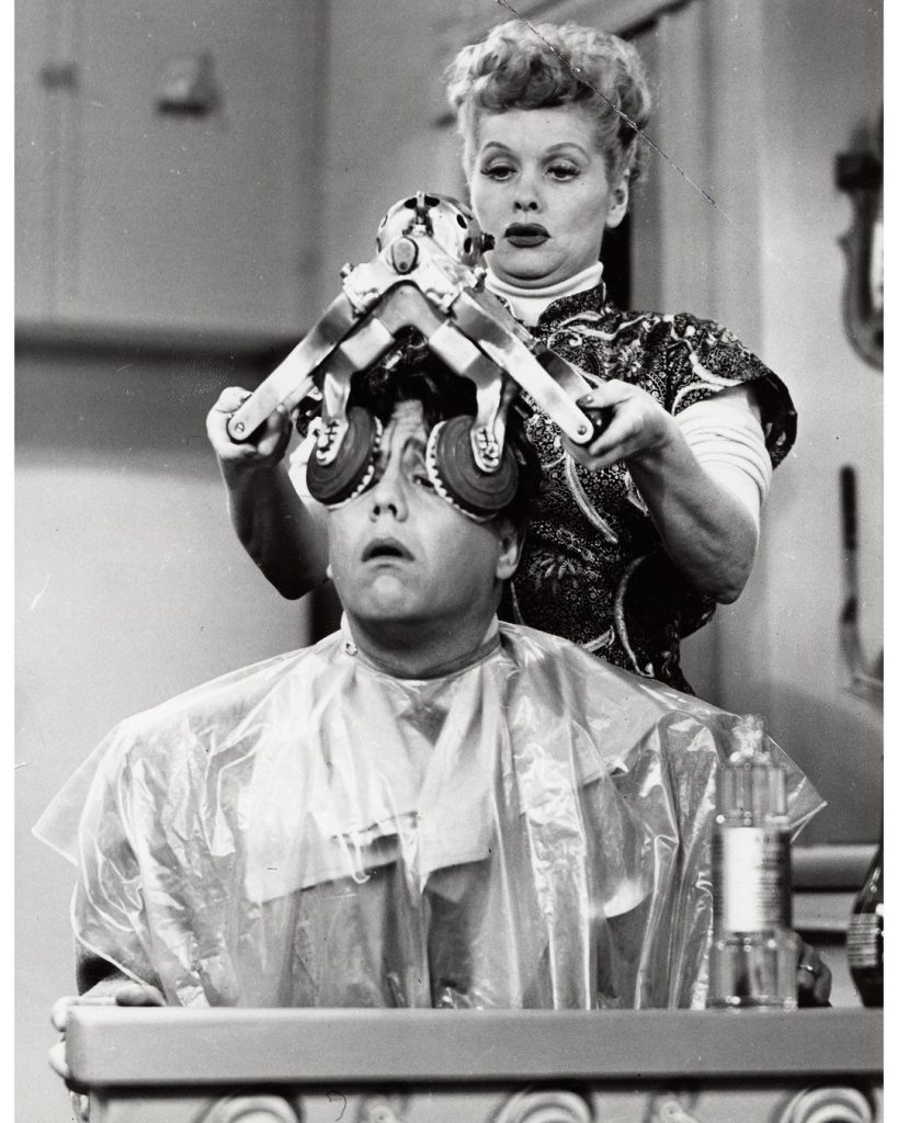 "One of Desi Arnaz' funny moment - when he thinks he's losing his hair, Lucy ""helps' him with a hair treatment!"