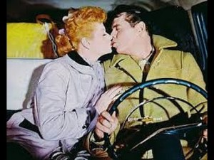 Lucille Ball kissing Desi Arnaz in Forever, Darling