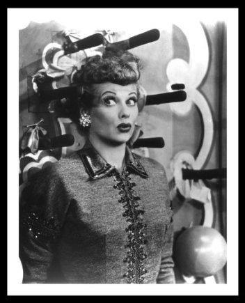 Lucille Ball in a knife throwing act in Lucy Tells the Truth