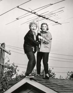 Lucille Ball and Vivian Vance fixing their TV antenna in The Lucy Show