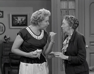 Too Many Crooks - Mrs. Trumball shares her suspicions with Ethel - that the infamous cat burglar, Madame X, is really - Lucy Ricardo!