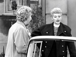 Despite her terrible record, Lucy offers to teach Ethel in Lucy Learns to Drive