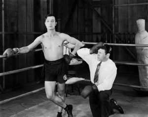 Buster Keaton in the boxing ring, impersonating Boxing Butler