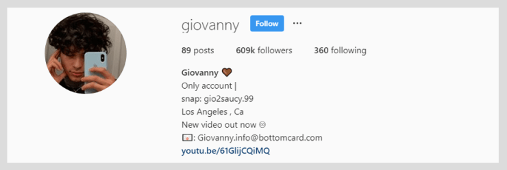 Giovanny Instagram Account 2020