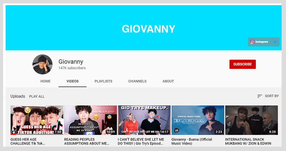 Giovanny YouTube Channel 2020