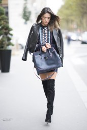 Alessandra Ambrosio - Leather Jacker & Mini Skirt