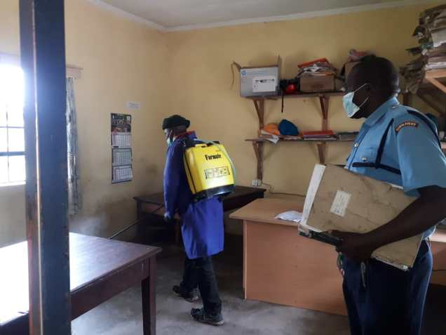 Fumigating Mwariki Police Post