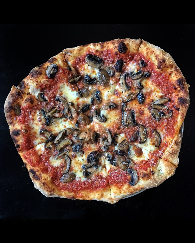 pizza with roasted mushrooms
