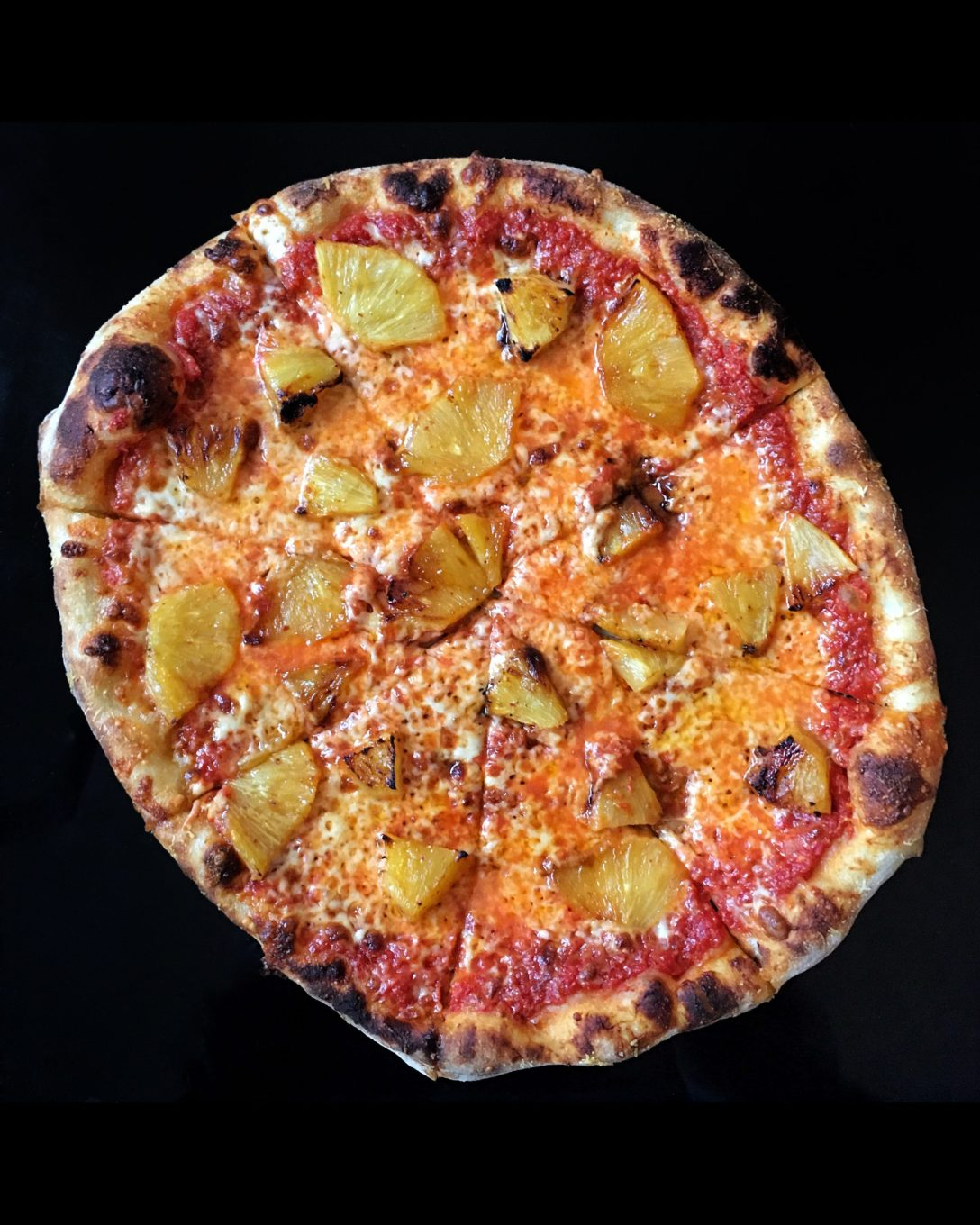 pizza with roasted pineapple