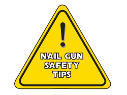 Safety Tips for Nail guns sign