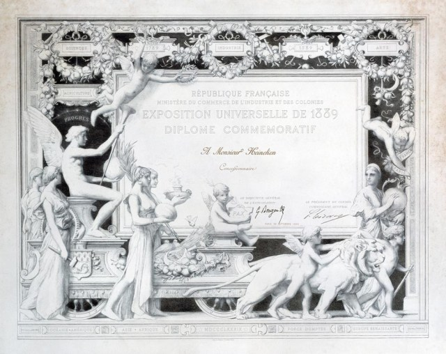 Certificate awarded to the Heineken brewery during the Paris World Fair, 1889