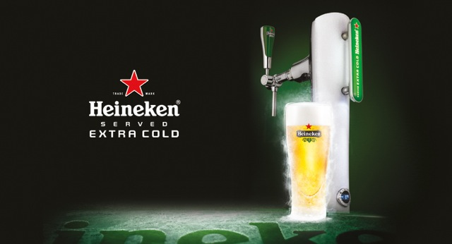 Enjoy your Heineken served Extra Cold, chilled to zero degrees for longer lasting refreshmen
