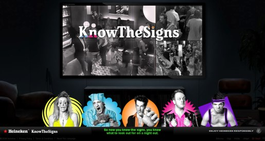 The Know the Signs campaign was developed at Red Brick Road / Ruby by executive creative director Justin Tindall
