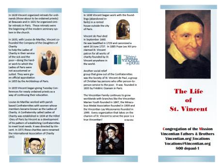 Life of Vincent – trifold pamphlet form