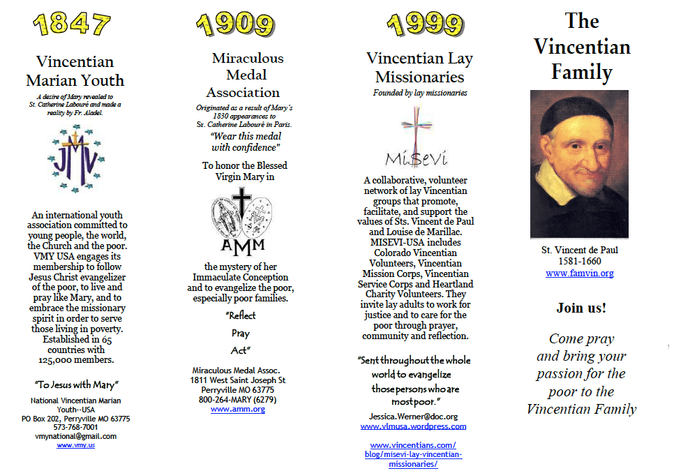 Vincentian Family Branches pamphlet