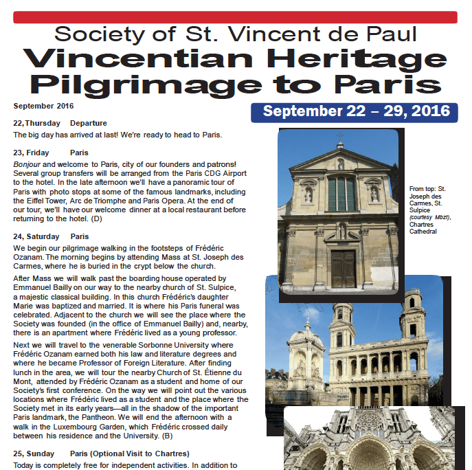 Society of  St. Vincent de Paul Vincentian Heritage Pilgrimage to Paris