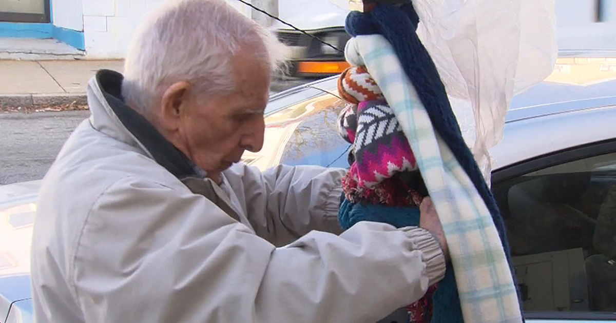 84-year-old Man Giving Out Scarves to Those in Need, in Memory of Late Son