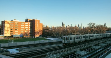 A CTA train rushes by Wish Field, Thursday, Jan. 21, 2021, on the Lincoln Park Campus. (DePaul University/Randall Spriggs)