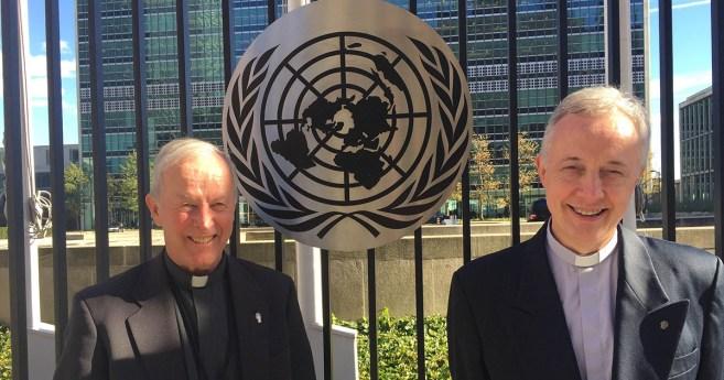 El Superior General, Tomaž Mavrič en visita a la sede de la ONU