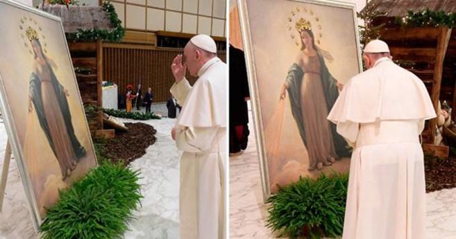 Papa Francisco reza ante cuadro original de la Virgen del Milagro